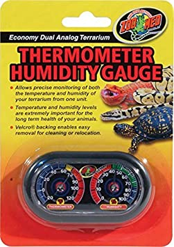 6 x 4 Zoo Med Economy Analog Dual Thermometer and Humidity Gauge