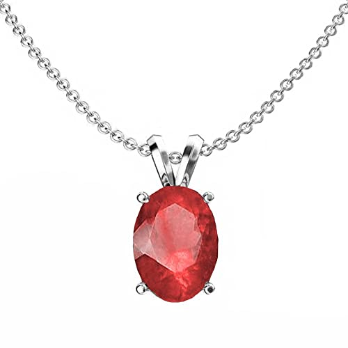 Dazzlingrock Collection 9×7 mm Oval Cut Ladies Solitaire Pendant Silver Chain Included , Sterling Silver