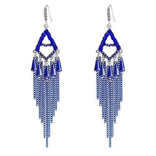 Dana Carrie No hole earrings Ear Clip Sensor flow of female ear fall into the long, National wind retro blue