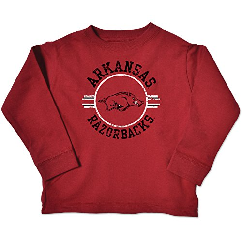 NCAA Arkansas Razorbacks Toddler Long Sleeve Tee, 4 Toddler, Cardinal