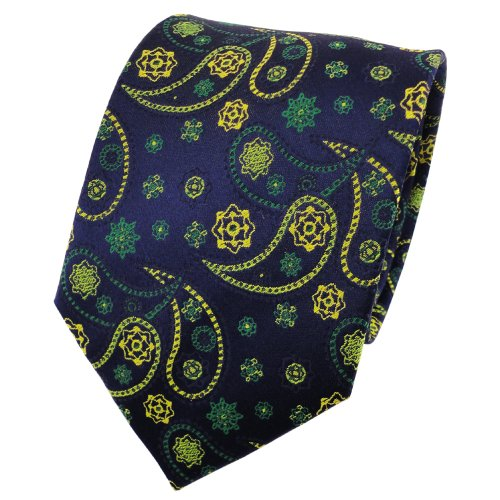 TigerTie satin cravate en soie vert jaune bleu foncé Paisley à motifs - cravate en soie