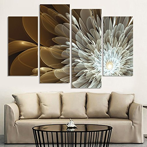 Funnmart 4pcs Wealth Luxury Golden Flowers Painting Print on Canvas Wedding Decoration Modular Wall Picture Unframed