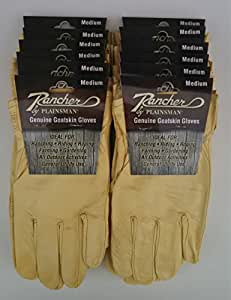 Rancher By Plainsman Goatskin Cabretta Leather Gloves MEDIUM 12 Pair Bundle