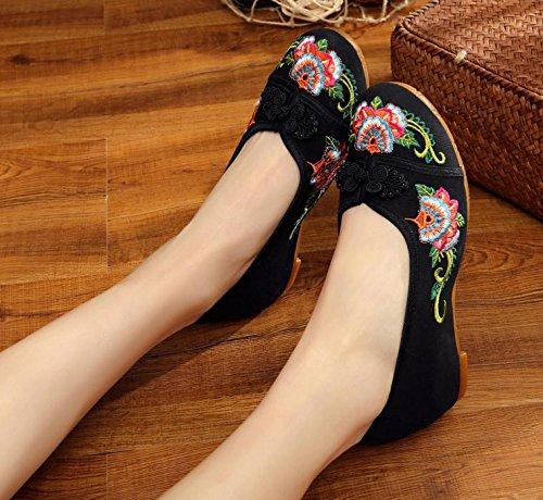 xiezi Femenina Casual Dentro Bordados Moda c¨modo de del Zapatos Tela lenguado ¨¦tnico zl Aumento Zapatos Estilo Tend¨n black del rqFrR6