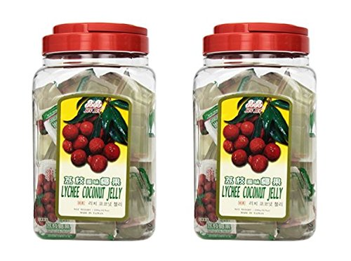 Jin Jin Lychee Coconut Candy Jelly Cups 52.9 Ounce Container (Pack of 2)