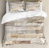 Ivory Duvet Cover Set by Ambesonne, Urban Brick Wall Background Modern and Stylized Kitsch City Life Surface Print, 3 Piece Bedding Set with Pillow Shams, King Size, Cream Beige Tan