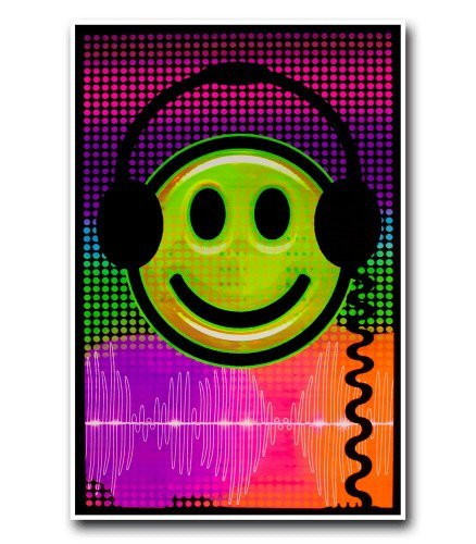 Audio Smile Flocked Blacklight Poster 23 x 35in