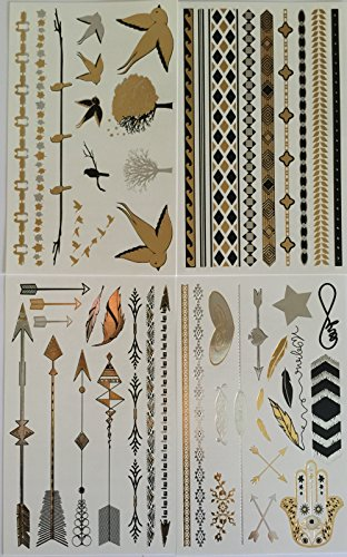 Twink Designs Metallic Temporary Tattoos, 4 Individual Sheets of Beautiful Tattoo Flash and Body Art