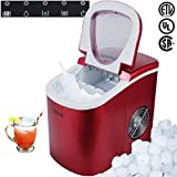 Portable Countertop Ice Cube Maker Compact Touch Control, Make 26lbs Per Day Red ;P#O455K5/U 7RK-B230568
