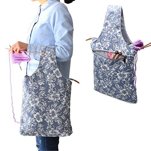 Teamoy Knitting Bag, Canvas Yarn Tote Project Bag for knitting Needles, Yarn and Crochet Supplies, Perfect Size for Knitting on The Go, Blue Flowers by Teamoy