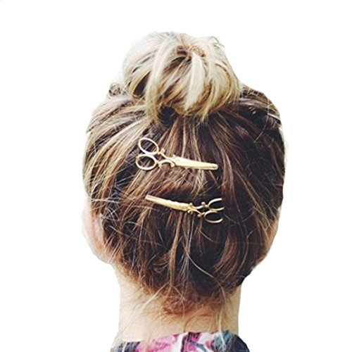 Mother's Day Gift, Muranba 1PC Scissors Hair Clip Hair Accessories Headpiece (Gold)