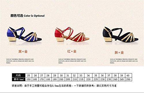 Filles Color 40 Chaussures De Taille Noir Danse amp; Fille Latine Rouge Tmkoo Ballroom Femme tzwFaZ