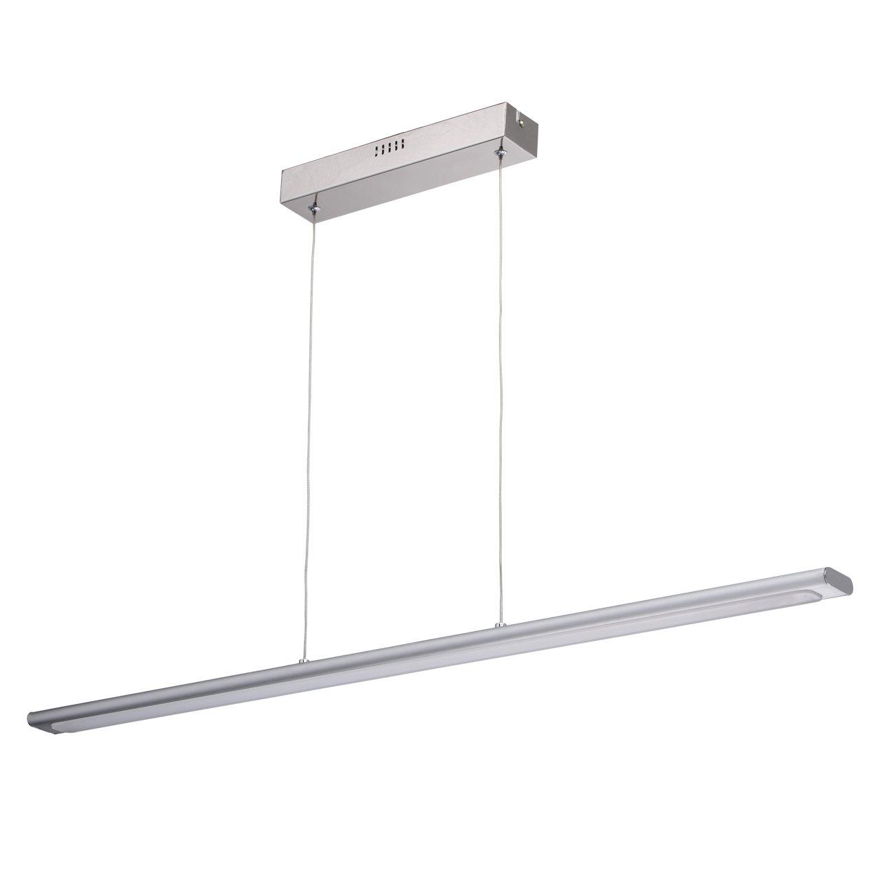 Suspension Barre LED Originale de Style Moderne en Acier Inox couleur Chrome avec Abat-jour en Aluminium et Acrylique pour Chambre Cuisine Bureau Hauteur Ajustable 4x4.8W LED SMD inclus MW-Light