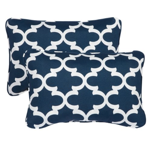 Mozaic Company Indoor Outdoor 13 by 20-inch Corded Pillow, Scalloped Navy, Set of 2