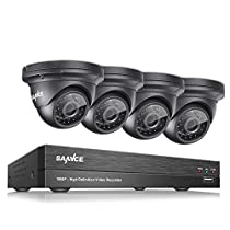 SANNCE 8CH 1080P CCTV DVR HD 19201080P Surveillance Camera System 4x 2.0Megapixel Outdoor IR-Cut Day Night Vision Dome Camera w/ NO Hard Drive