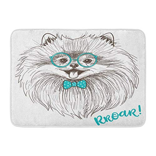 YGUII Doormats Bath Rugs Outdoor/Indoor Door Mat Sweet Sketch of Cute Little Pomeranian Bow and Round Glasses Dog Smiley Face Pom Puppy Animal Bathroom Decor Rug Bath Mat 16X23.6in (40x60cm) -