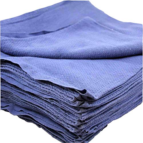 MIMAATEX 50 Pieces Pack 16x24 inches- New Blue Glass Cleaning Shop Towels Blue Huck Surgical Detailing Glass Towels