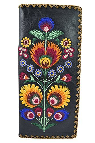 Embroidered Wallet (Lavishy Bohemian Colorful Flower Arrangement Embroidered Beautiful Large Wallet (Black ))