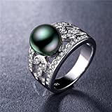 by lucky 925 Silver Jewelry Elegant Round Cut Black Pearl Women Wedding Ring Size 6-10 (6)