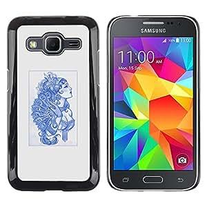 Caucho caso de Shell duro de la cubierta de accesorios de protección BY RAYDREAMMM - Samsung Galaxy Core Prime - Azul Burlesque Señora