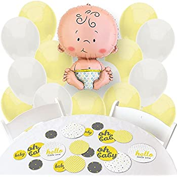 Hello Little One   Yellow And Gray   Confetti And Balloon Neutral Baby  Shower Decorations