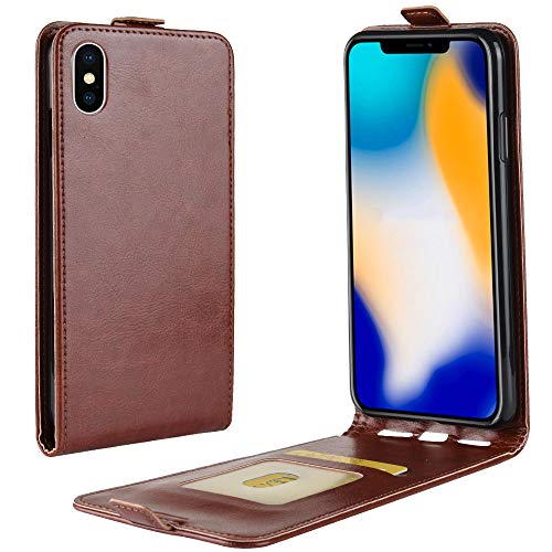 Flip Vertical Pouch - iPhone XR Vertical Flip Case, Card Holder Leather Case for iPhone XR Retro Cover Bag Case Wallet Pouch for iPhone XR 6.1-inch (Brown)
