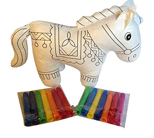 Color my Horse -Paint then Wash and ReColor this Soft Animal Toy Pony with 14 Extra Markers to give your Child Genius Arts and Crafts Fun and a Soft Play Pal (Paint Plush Horse)