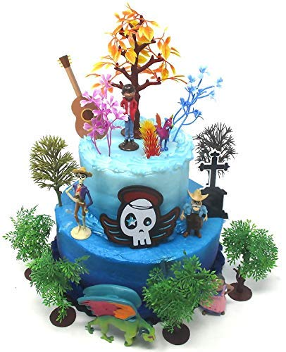 Coco Birthday Cake Topper Featuring Miguel and Friends with Decorative Themed Accessories