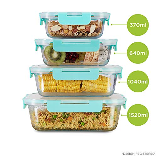 Allo FoodSafe 370ml, 640ml, 1040ml & 1520ml Rectangle Glass Food Storage Container with Break Free Detachable Lock | 450°C Oven Safe Microwave Safe | High Borosilicate | Leak Proof | Set of 4 Price & Reviews