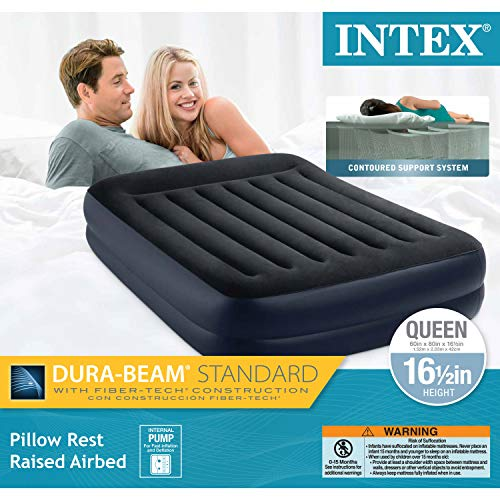 "Intex Dura-Beam Standard Series Pillow Rest Raised Airbed w/Built-in Pillow & Internal Electric Pump, Bed Height 16.5"""", Queen"