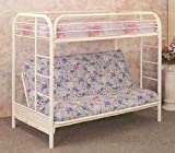 Twin Full Size Convertible Futon Bunk Bed in White Finish