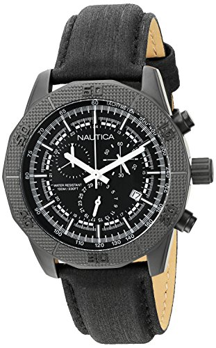 Nautica Men's NAD17520G NST 11 Analog Display Quartz Black Watch