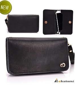 Universal, Genuine Leather Women's Wallet with Wrist Strap Clutch Compatible with LG Quantum Case - BLACK. Bonus Ekatomi Screen Cleaner