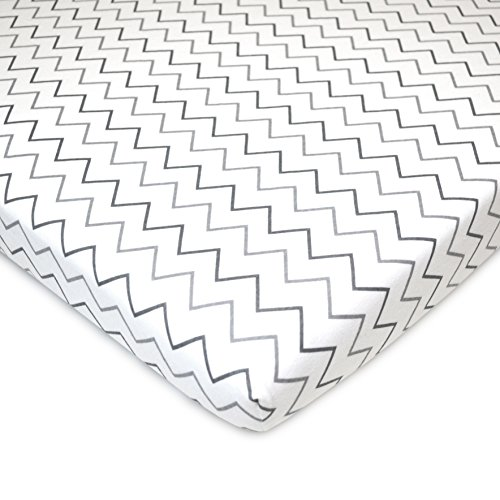 American Baby Company 2 Piece Printed 100% Cotton Jersey Knit Fitted Pack N Play Playard Sheet, Grey Stars and Zigzag by American Baby Company (Image #2)