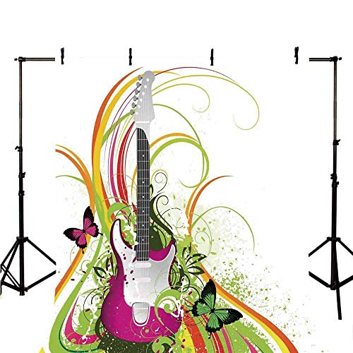 Music Decor Stylish Backdrop,Musical Composition with a Guitar Colorful Ornament Flourishes Plant Curl for Photography,39.3