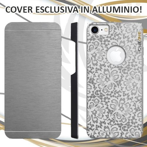 CUSTODIA COVER CASE SPOSA RICAMO WEDDING BIANCA PER IPHONE 7 ALLUMINIO TRASPARENTE