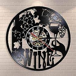 Vinyl LED Wall Clock 7 Color Remote Control Backlit Night Light Sticker Wine Logo Wall Clock Cellar Glass Bottle Wine Drink Drink Liquor Pub Bar Label Emblem Vinyl Wall Clock
