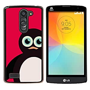 Pingüino rosa Dibujo de animales Cute Kids- Metal de aluminio y de plástico duro Caja del teléfono - Negro - LG L Prime / L Prime Dual Chip D337