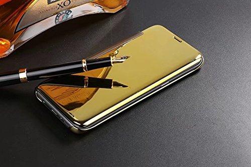 LG V10 Hülle,LG V10 Spiegel Ledertasche Handyhülle Brieftasche im BookStyle,SainCat Clear View Überzug Mirror Effect PU Leder Hülle Wallet Case Folio Transparent Durchsichtig Schutzhülle Scratch Bumpe Gold