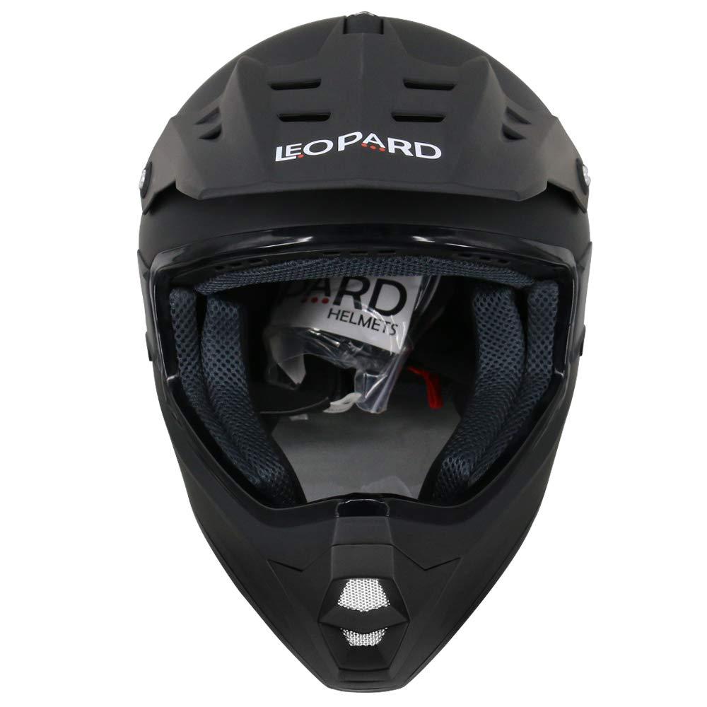 para Ciclomotor Motocicleta y Scooter Mujer y Hombre ECE Homologado Leopard LEOX307 Casco de Moto Motocross Negro Mate//Azul XXL 63-64cm