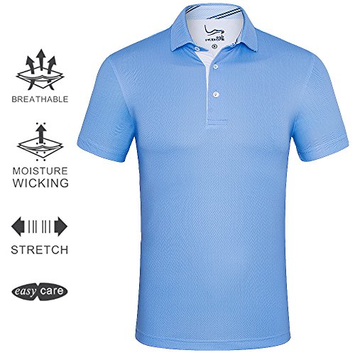 [EAGEGOF Men's Shirts Sky BlueShort Sleeve Tech Performance Golf Polo Shirt Loose Fit X-Small] (70s Workout Clothes)