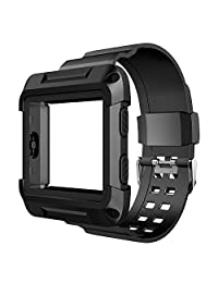 Fitbit Blaze Band, Simpeak Protective Frame Case with Resilient Bracelet Strap Replacement Armband for Fitbit Blaze Smart Fitness Watch, Black