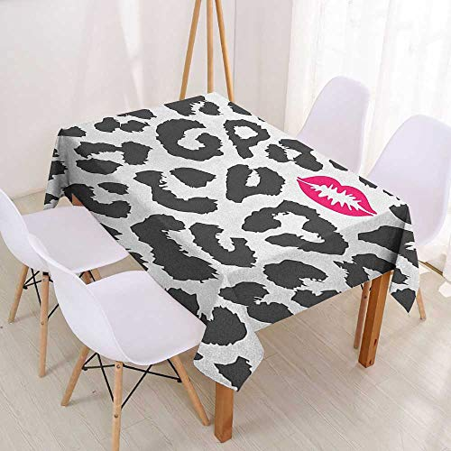 Wendell Joshua Spill-Proof Table Cover Safari,Leopard Cheetah Animal Print with Kiss Shape Lipstick Mark Dotted Trend Art,Charcoal Grey Pink,Tablecovers for Rectangle Tables 60