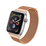 HILIMNY Compatible for Apple Watch Band 38mm 40mm 42mm 44mm, Stainless Steel Mesh Milanese Sport Wristband Loop with Adjustable Magnet Clasp for iWatch Series 1/2/3/4,Gold Red