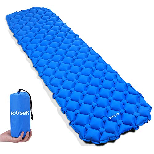 ieGeek Sleeping Pad, Inflatable Camping Mat Lightweight Compact Air Pad Waterproof Sleeping Mat for Backpacking/Travel/Hiking - XL Size Portable Mattress with Packing Bag Comfortable Air Cells