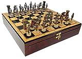 Medieval Times Crusades Gold & Silver Warrior Knights Chess Set W/ 17'' Dark Walnt & Birdseye Maple Color Gloss Storage Board