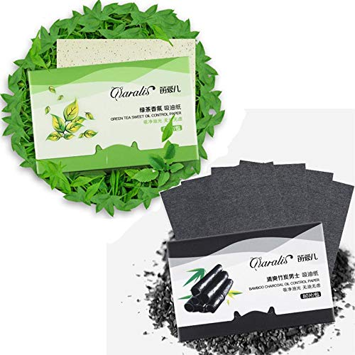 KIMME 2 Packs Super Absorbent Facial Blotting Paper Oil Absorbing Sheets for Men Women (Green Tea and Bamboo Charcoal)