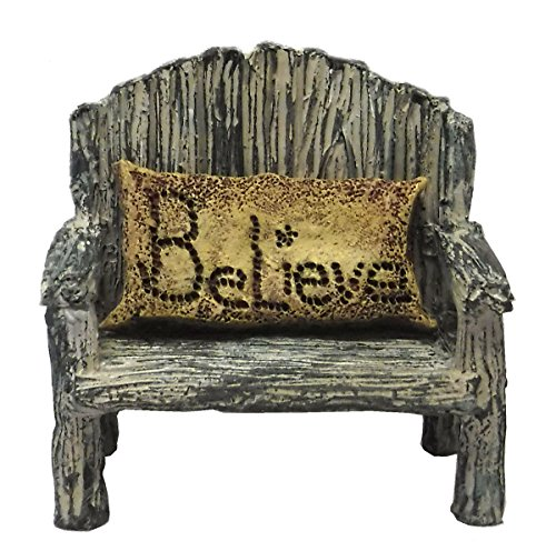 Fairy Garden Fairy Bench With Believe Pillow by MyFairy Gardens