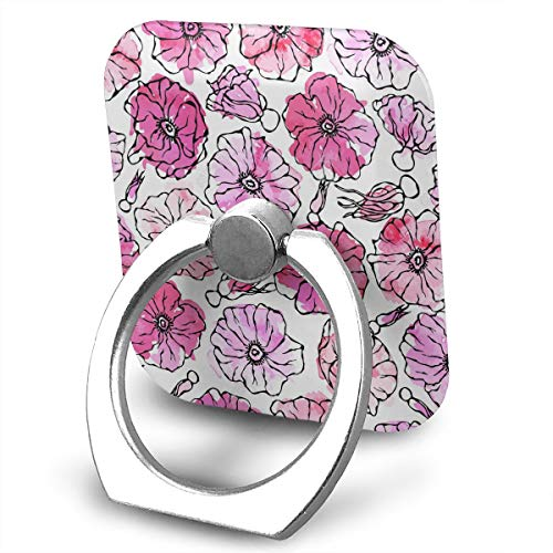 Pattern Watercolor Wild Rose Pink Flower Dog Phone Ring Stand Holder Cellphone Kickstand Finger Grip 360¡ã Rotation 180¡ã Flip ()