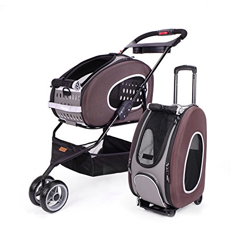 (ibiyaya 5-in-1 Combo EVA Pet Carrier/Stroller, Chocolate)